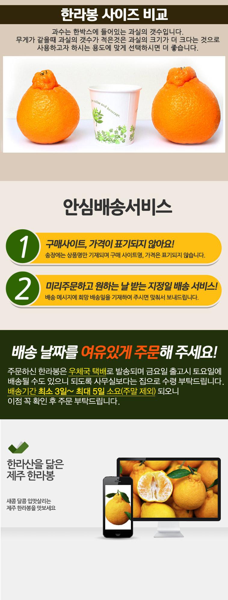 새콤달콤한 고당도 제주 한라봉 5kg - 상세정보