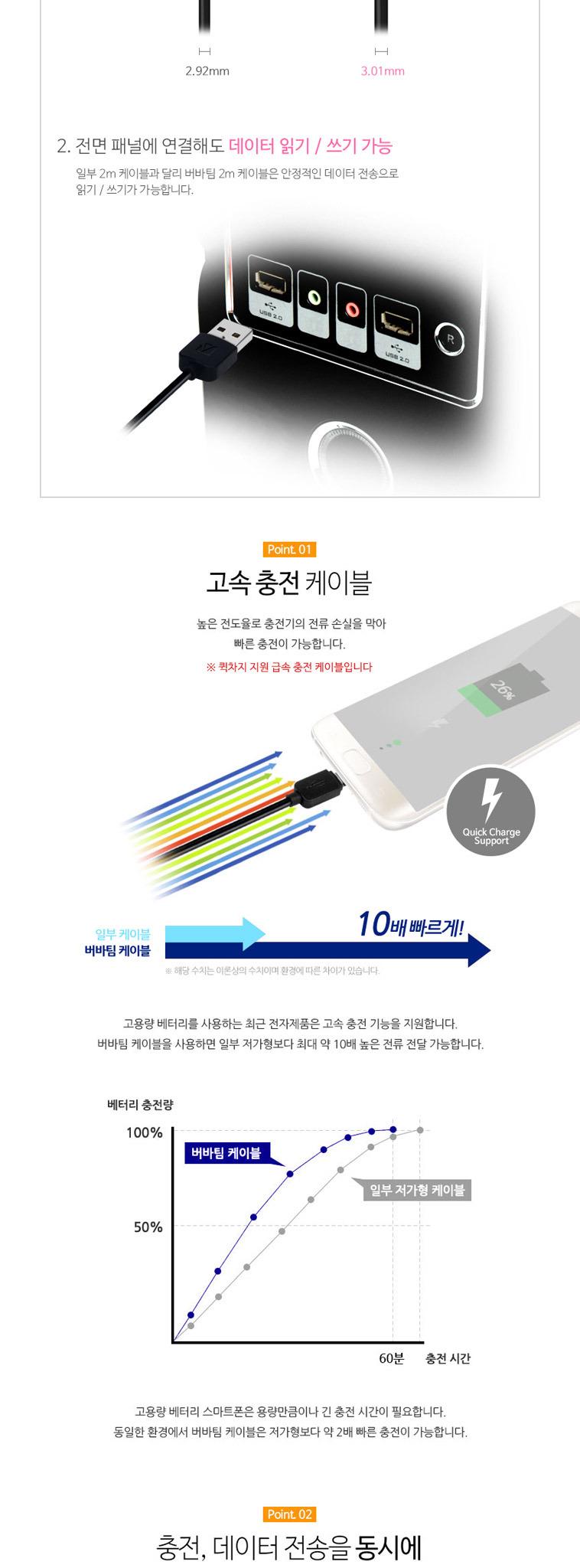 버바팀 고속 휴대폰 충전 케이블 - 상세정보