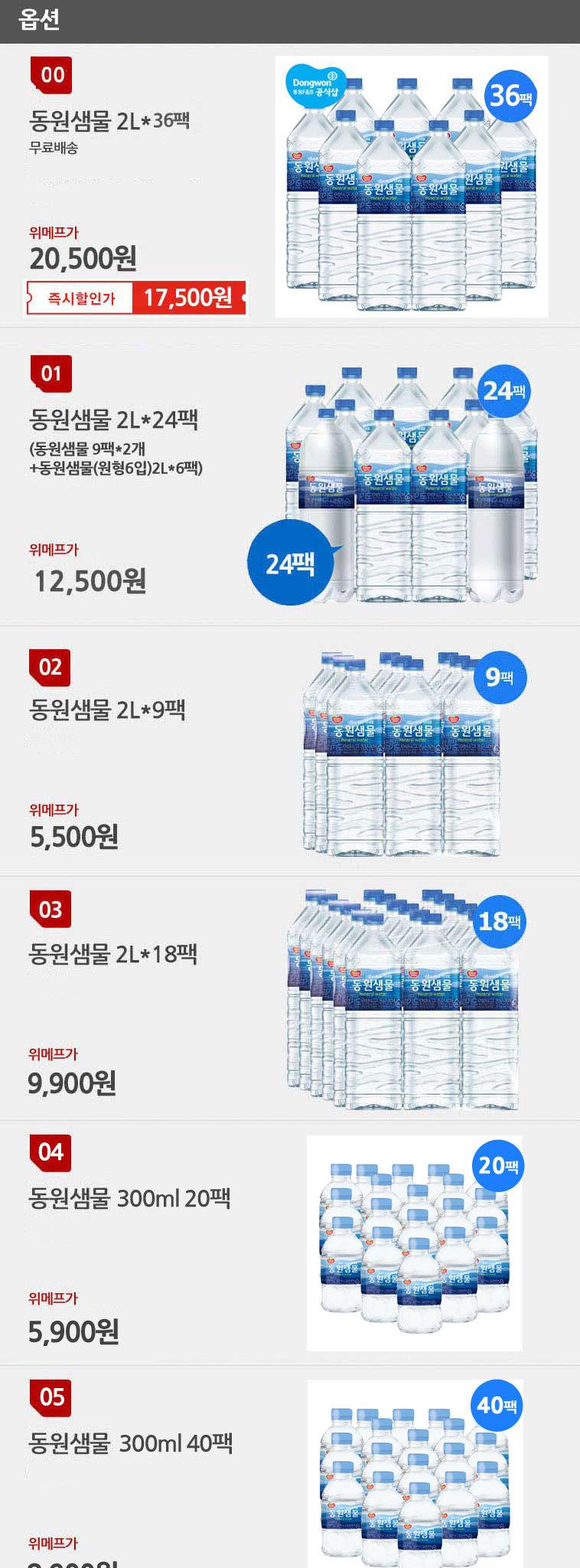 [무료배송] 동원샘물 생수 2L × 36펫 - 상세정보