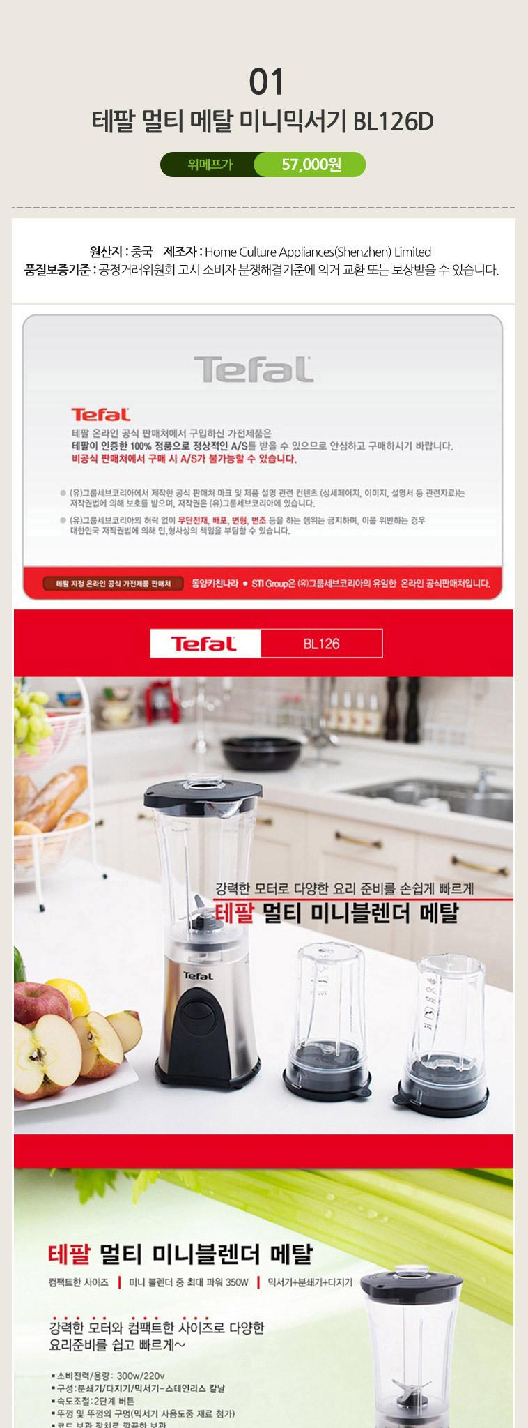 테팔 미니 블렌더 BL126D - 상세정보
