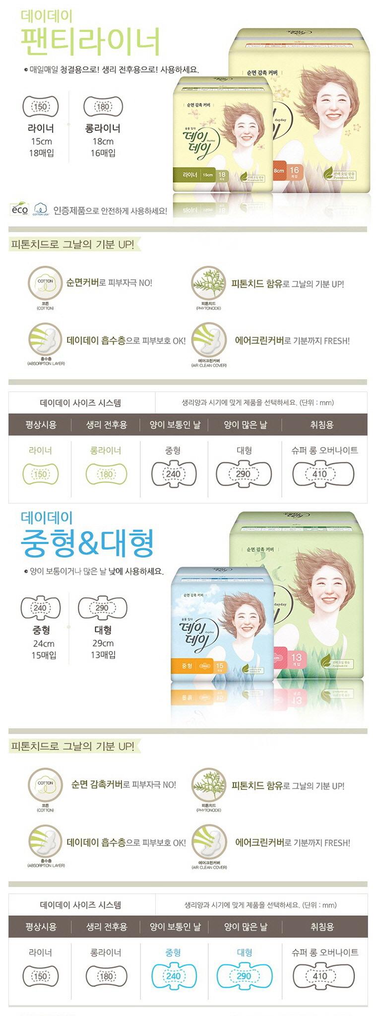 데이데이 생리대 골라담기 5종 - 상세정보