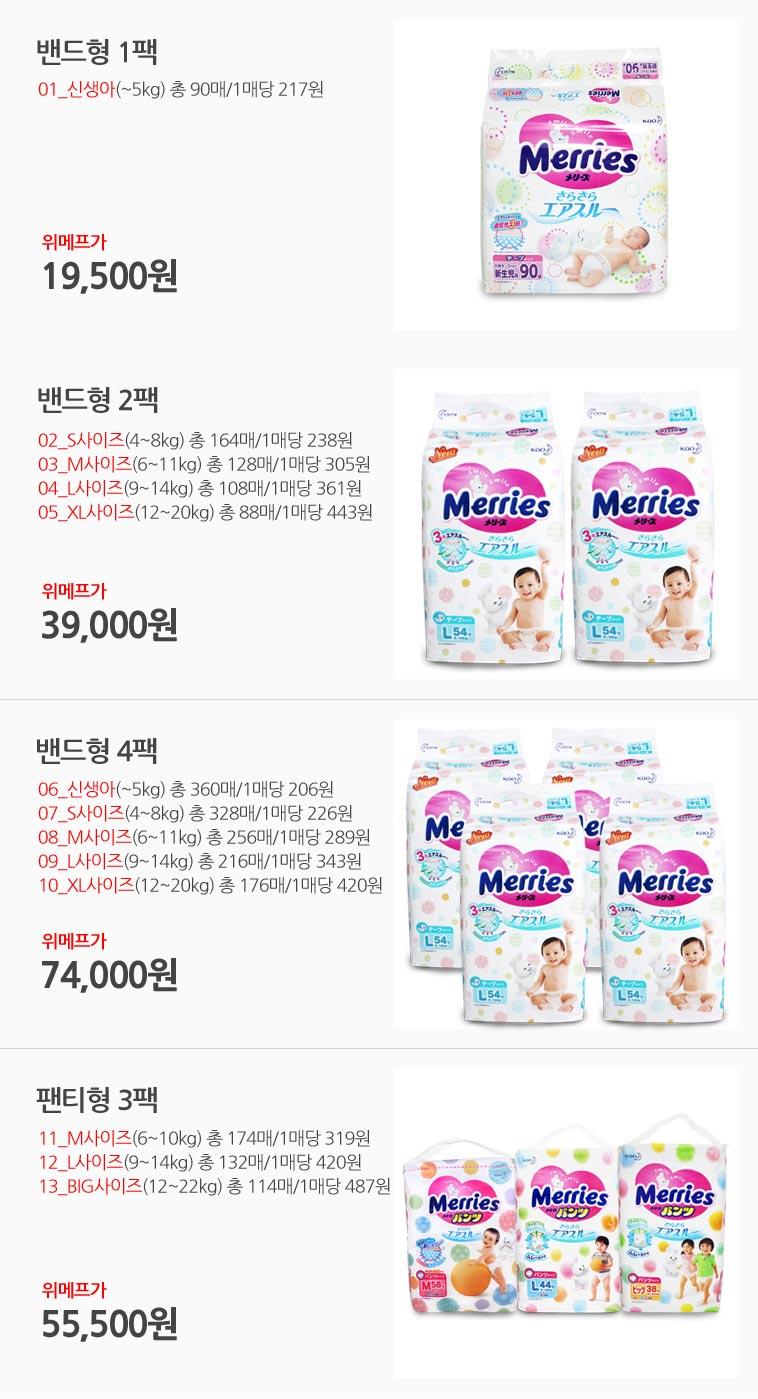 [스타쿠폰] 메리즈 팬티/밴드 기저귀 - 상세정보
