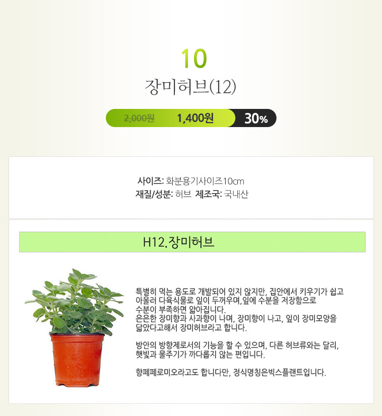허브식물1+1+1 단돈3,600원 - 상세정보