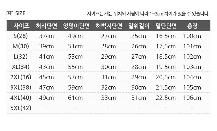 [무료배송] 빅사이즈 스판청바지 - 상세정보