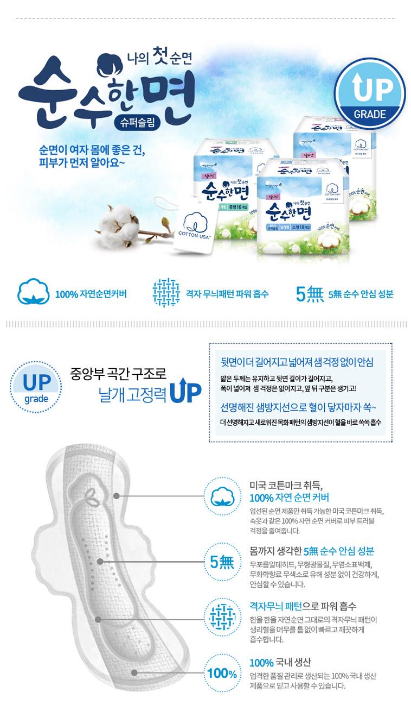 [무료배송] 순수한면 생리대 5팩+20P - 상세정보