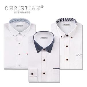 [마이컬러] 화이트 남성 슬림핏 셔츠