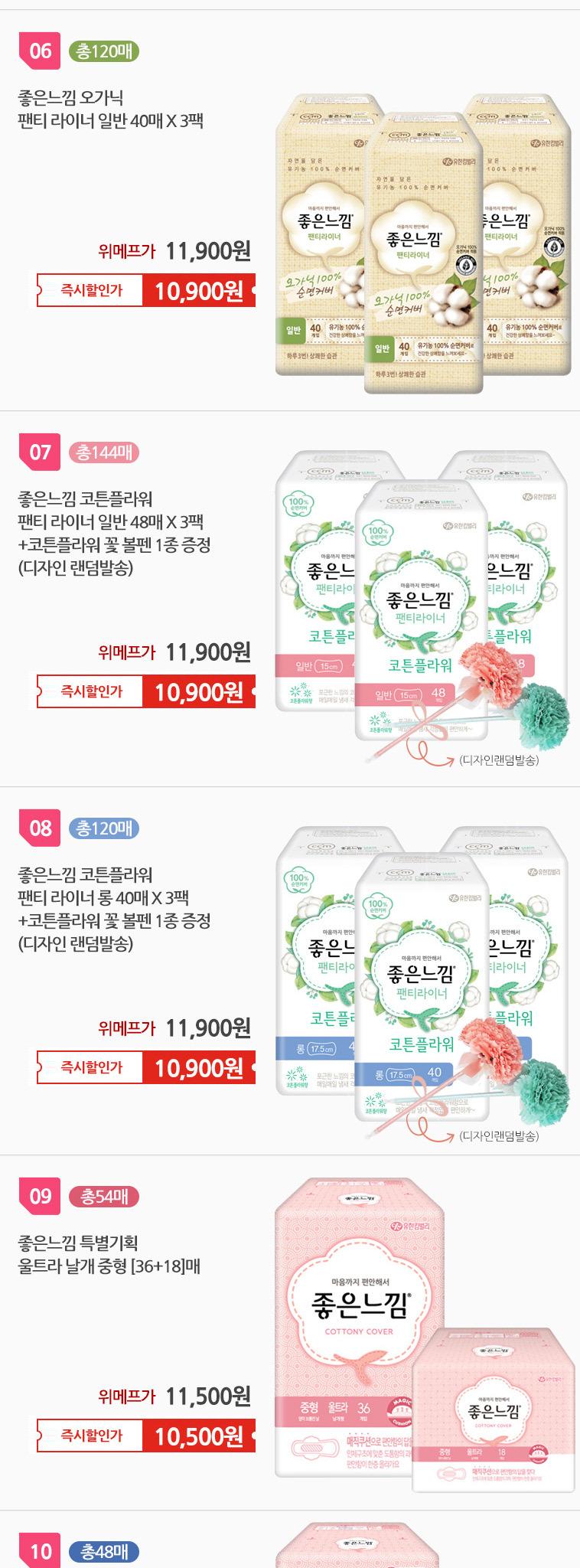 화이트 팬티라이너 생리대 총 144매 - 상세정보