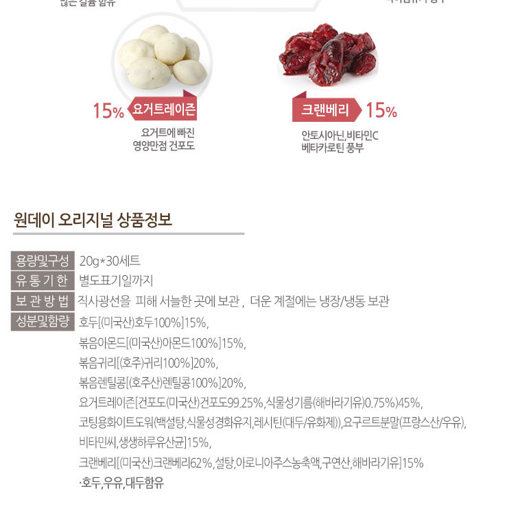 [스타쿠폰] 3+1 견과류30봉 선물세트 - 상세정보