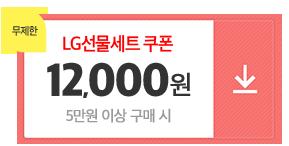 01월16일~01월26일/브랜드LG선물세트실속쿠폰/5만원이상구매시/1만2천원쿠폰