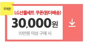 01월16일~01월26일/원더배송LG선물세트실속쿠폰/1십만원이상구매시/3만원쿠폰